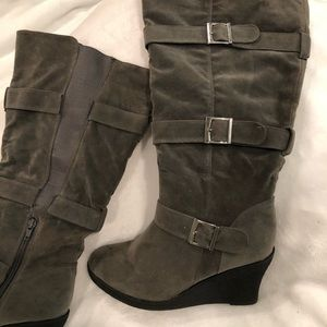 Gray Suede wedge heel knee boots